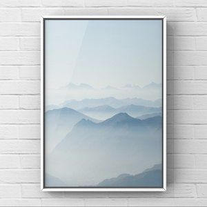 Modern minimalist blue misty mountain art print